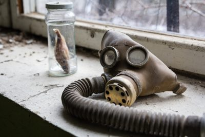 Gas masks in Pripyat, a ghost town in the Chernobyl Exclusion Zone